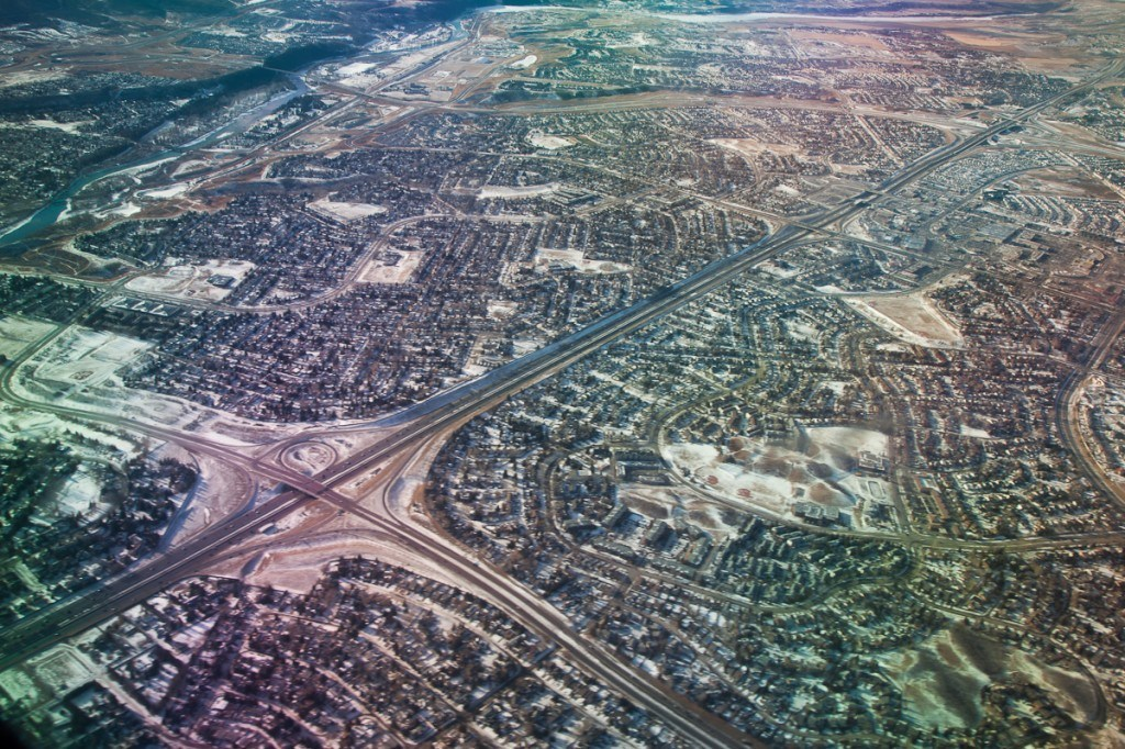 Aerial grids outside of Calgary